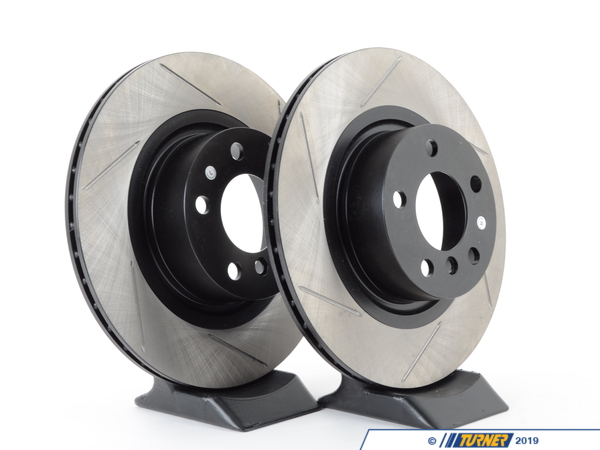 T#210985 - 34206790362GS - Gas-Slotted Brake Rotors (pair) - Rear - F25 X3 28dx, 28ix, 35ix, F26 X4 - Direct replacement rear gas-slotted brake discs for BMW F25 X3. These rotors feature a unique black electro-coating that is designed to prevent corrosion. Each rotor is e-coated then double-ground and balanced to ensure an even surface with no vibration. The e-coating is the best anti-corrosion protection currently available in replacement rotors. Most aftermarket rotors are not coated, allowing surface rust to form right away, which is unattractive when brakes can be seen through your wheels. Slotting a rotor helps to release gases that build up between the rotor surface and an out-gassing brake pad. Without an escape, this thin layer of gas will cause a delay until the pad cuts through gas layer. The slots in our rotors allow the gases to escape giving better braking performance. For track and racing use, slotting is preferred over cross-drilling because the slots don't take away as much mass from the rotor and won't suffer from structural cracks. This item fits the following BMWs:2011+  F25 BMW X3 xDrive28i X3 xDrive28d X3 xDrive35i2015+  F26 BMW X4 xDrive28i X4 xDrive35i - StopTech - BMW