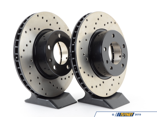 T#186 - 34111159896CD - Cross-Drilled Brake Rotors - Front - E32 ALL, E34 540i (pair) - StopTech - BMW