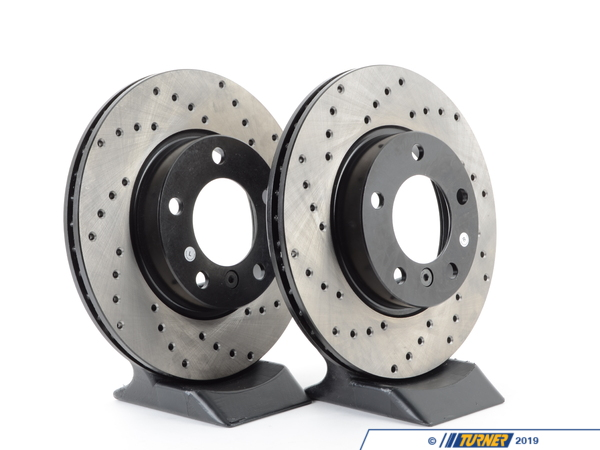 T#3927 - 34111162282CD - Cross-Drilled Brake Rotors - Front - E36 (except M3), E46 323i/Ci, Z3 (except M) (pair) - StopTech - BMW