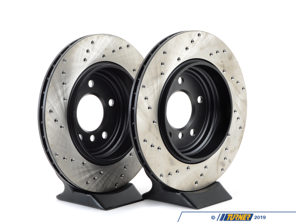 T#137 - 34201166073CD - Cross-Drilled Brake Rotors - Rear - E46 330i 330Ci 330xi (pair) - StopTech - BMW