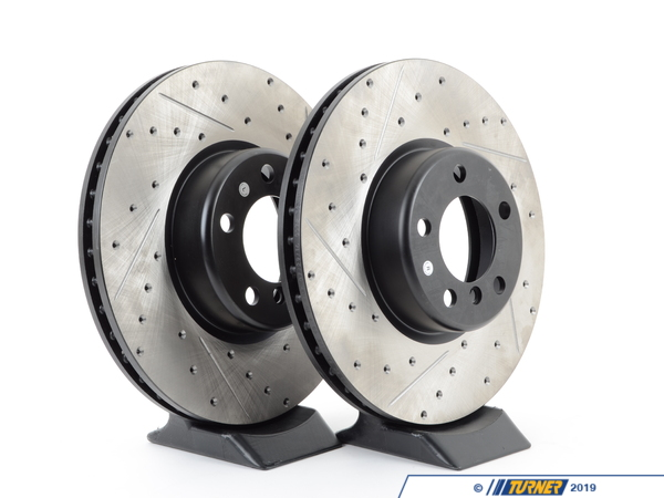 T#211027 - 34216792233CDS - Cross-Drilled & Slotted Brake Rotors -(330x20) - Rear - F30 335i 335iX, F32 435i 435iX (Pair) - Slotting a rotor helps to release gases that build up between the rotor surface and an out-gassing brake pad. Without an escape, this thin layer of gas will cause a delay until the pad cuts through gas layer. The slots in our rotors allow the gases to escape giving better braking performance. Cross-drilling a rotor is a way to improve initial pad bite. With the additional leading edges at each hole, the pad is able to grab the rotor just a little bit harder. By combining both Cross-drilling and slotting, these rotors combine the best of both worlds. Fewer holes mean longer pad life with little penalty in the way of initial pad bite. These rotors feature a unique black electro-coating that is designed to prevent corrosion. Each rotor is e-coated then double-ground and balanced to ensure an even surface with no vibration. The e-coating is the best anti-corrosion protection currently available in replacement rotors. Most aftermarket rotors are not coated, allowing surface rust to form right away, which is unattractive when brakes can be seen through your wheels. br>Replacement rear brake rotors (330x20) for the 2012+ F30 335i/335xi and F32 435i/435xi. These rotors fit the standard 335/435 brake package (not the optional M Sport upgrade or M Performance brakes).F30 Brake FAQ ArticlesF30 335i Brake Package DifferencesBrake Rotor Buying GuidePrice is for a pair of rotors.This item fits the following BMWs:2012+ F30 BMW 335i 335iX - Sedan2014+ F32 BMW 435i 435iX - Coupe2014+ F33 BMW 435i 435iX - Convertible2014+ F34 BMW 335iX - Gran Turismo2014+ F36 BMW 428i 428iX 435i 435iX - Gran Coupe - StopTech - BMW