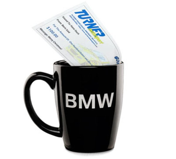 T#1640 - BMW-MUG-100TMS - Genuine BMW Coffee Mug & $100 Turner Motorsport Gift Certificate - Packaged by Turner - BMW MINI