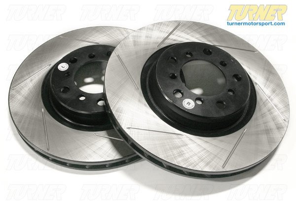 T#2829 - 34116764645GS - Gas-Slotted Brake Rotors (Pair) - Front - E90 330i/Xi - Direct replacement Front gas-slotted brake discs for E90 330i/330xi. These rotors feature a unique black electro-coating that is designed to prevent corrosion. Each rotor is e-coated then double-ground and balanced to ensure an even surface with no vibration. The e-coating is the best anti-corrosion protection currently available in replacement rotors. Most aftermarket rotors are not coated, allowing surface rust to form right away, which is unattractive when brakes can be seen through your wheels. Slotting a rotor helps to release gases that build up between the rotor surface and an out-gassing brake pad. Without an escape, this thin layer of gas will cause a delay until the pad cuts through gas layer. The slots in our rotors allow the gases to escape giving better braking performance. For track and racing use, slotting is preferred over cross-drilling because the slots don't take away as much mass from the rotor and won't suffer from structural cracks. Direct replacement for BMW # 34116854999.Sold as a FRONT pair.These front brake discs / brake rotors fit:2006 E90 330i & 330xi sedan - StopTech - BMW