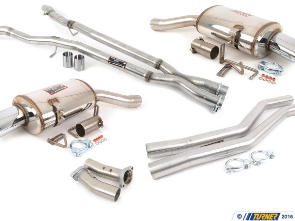 T#1286 - 788500 - E63/E64 645ci/650i Supersprint Performance Exhaust System - Free ground shipping!This full Supersprint exhaust for the V8 645ci and 650i will punch up the sound to give your car a more athletic and sporting experience. The stock system incorporates a muffler and two sets of resonators and is very good at keeping engine noise at luxury-car levels but if you've wanted more of that V8 growl to come through this Supersprint system should be just right. This system features a free-flowing stainless steel sport muffler matched with stainless pipes from the headers back to eliminate both sets of resonators. Without the resonators and with less restrictive mufflers, more of that glorious V8 engine sound can be heard. And less restrictions in the exhaust mean the engine is working less to move exhaust gas and that means a substantial increase in torque and horsepower.Supersprint exhaust is widely recognized as the leader in complete exhaust system upgrades - extremely high quality, well designed for optimal flow, and amazing sound. Even at a premium price Supersprint is an unbeatable exhaust system because every aspect is done to such a high level. A Supersprint exhaust rewards you with a terrific sound, long lasting construction and excellent fitment. The Supersprint sound is very 'European' which fits the sporting sophistication of BMWs perfectly. Most systems are also modular - sections can be added or removed to custom tailor the exhaust sound to your preferance. Aside from 'Race' systems, their mufflers meet European noise laws so you get a refined and tuned sound without being excessively loud. Most Supersprint systems are built with larger diameter piping to improve exhaust flow which helps the engine do less work and make more horsepower! Supersprint exhausts generally run at a premium over other systems but no other system on the market can match their quality, performance, or reputation!section:section 1 and 2 resonator delete pipes, rear mufflerconnects to:stock headerstip style:120x80mm dual ovalmaterial:T304 stainless steelThis item fits the following BMWs:2005-2007  E60 BMW 645ci 650i - Supersprint - BMW