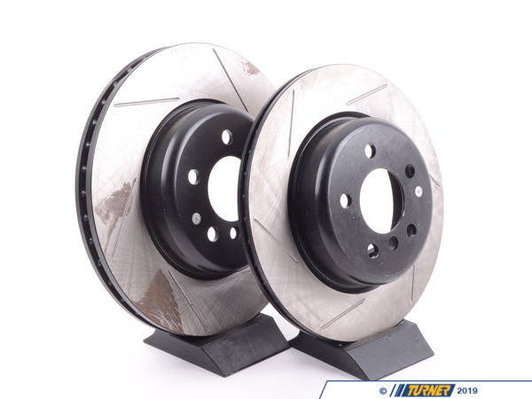 T#210968 - 34116775277GS - Gas-Slotted Brake Rotors (Pair) - Front - F10 F12 F06 - Direct replacement FRONT gas-slotted brake discs (348x30mm) for F10 F12 F06 BMW'S These rotors feature a unique black electro-coating that is designed to prevent corrosion. Each rotor is e-coated then double-ground and balanced to ensure an even surface with no vibration. The e-coating is the best anti-corrosion protection currently available in replacement rotors. Most aftermarket rotors are not coated, allowing surface rust to form right away, which is unattractive when brakes can be seen through your wheels. Slotting a rotor helps to release gases that build up between the rotor surface and an out-gassing brake pad. Without an escape, this thin layer of gas will cause a delay until the pad cuts through gas layer. The slots in our rotors allow the gases to escape giving better braking performance. For track and racing use, slotting is preferred over cross-drilling because the slots don't take away as much mass from the rotor and won't suffer from structural cracks. This item fits the following BMWs:2011+  F10 BMW 535i 535i xDrive 535d 535d xDrive 2012+  F12 BMW 640i 640i xDrive  2013+  F06 BMW 640i Gran Coupe 640i xDrive Gran Coupe  - StopTech - BMW