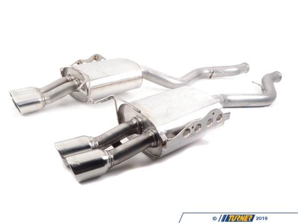 T#4520 - 11802 - E92 M3 Borla ATAK Exhaust - Rear Mufflers - Section: rear mufflersInstallation: slip-onTip Style: quad round 90mm Borla angle cutPower Gain: +8hpThis is the most aggressive muffler section that Borla produces for the E90/E92 M3. Their ATAK system - Acostically Tuned Applied Kinetics - allows a very high volume without drone and distortion. This is beyond your the usual 'muscle car' sound - this is full blown automotive thunder! Borla manages the sound waves inside the exhaust to produce an exhaust note that maintains its tone as revs rise. With ATAK, the sound output is tuned like a graphic equalizer to shape and focus sound waves for optimum high-volume output. This exclusive technology produces the highest available dB (decibel) levels in the Borla street-legal lineup, and is designed for high-performance purists who prefer exhaust notes over their stereos. For an exhaust that really emphasizes the M3's motorsport background this is THE exhaust system. Every Borla is made with 304 stainless steel for the internals and muffler body. Unlike other systems that can use coated aluminum, mild steel, or 409 stainless, the Borla uses true 304 stainless on the inside as well as the outside. This prevents the muffler from rusting and deteriorating from the inside out. Borla guarantees every muffler with a 1,000,000 mile warranty. Turner Motorsport has been the leading Borla dealer for BMW exhausts since we sold our first system in 1996, including using Borla Exhausts on every Turner BMW racecar.This Borla Exhaust fits the following BMW models:2008-2012 E92 BMW M3 coupe2008-2012 E93 BMW M3 cabrio - Borla - BMW