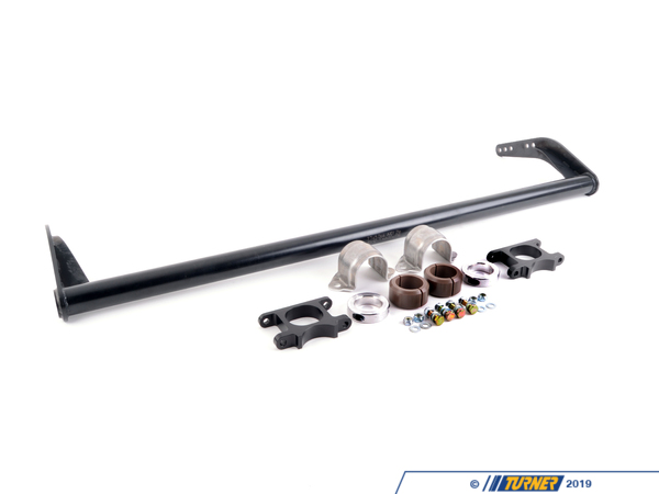 T#3765 - BMWMSFSBK - BMW Motorsport Front Sway Bar Kit for E46 - Over5 seasons (and 5 championships) we have learned that the E46 BMW needs a large front sway bar / swaybar to help balance the chassis. Adding a large front bar to the E46 not only decreases understeer but it also decreases oversteer and helps put the power down. Developed by BMW for the E46 ETCC car this hollow sway bar (40mm x 2mm) will fit All E46's except M3s (unless the M3 is running a dry sump) Bar is 4 position adjustable. This kit is not suggested for street cars because it will not fit with AC compressor. Kit includes brackets and bushings. You may need adjustable drop links to complete the connection to your struts - Genuine BMW Motorsport - BMW