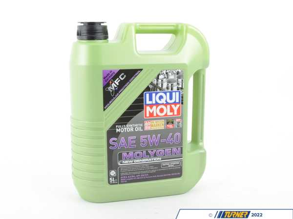 "T#397242 - 20232 - Molygen New Generation Engine Oil (5w-40) - 5 Liter - Liqui Moly is an official sponsor of Turner Motorsport. We work closely with Liqui Moly to ensure your BMW is receiving optimal lubrication!  Select your vehicle to make sure you are viewing the best Liqui Moly options for your application.Liqui Moly Molygen New Generation fully synthetic engine oil is carefully engineered, starting with a high quality synthetic base. What separates Molygen from other engine oils is the molecular friction modifier for reduced friction and wear. Because of this, blue"">Molygen glows fluorescent green under UV light, allowing you to easily find any leaks!The fluorescent green chemical friction modifier smooths out hard metal surfaces, reducing overall engine wear and heat due to friction. Tests have shown to reduce the friction coefficient by 15%! MolyGen oil is also a great choice for modern forced induction engines which produce much more heat. BMWs are notorious for leaking oil. Make chasing your leak easier with Liqui Moly Molygen New Generation engine oil. (Once you find it, give us a call - we can help you stop that leak, too!)Technical Specifications:Density at 15C - .855kg/cm3Viscosity at 40C - 80.7mm/sViscosity at 100C - 14.0mm/sViscosity Index - 180Flash Point - 230CRecommended for the following oil and manufacturer specifications:ACEA A3ACEA B4API SNAPI CFPorsche A40Renault RN 0700VW 502.00VW 505.00 - Liqui-Moly - BMW MINI"