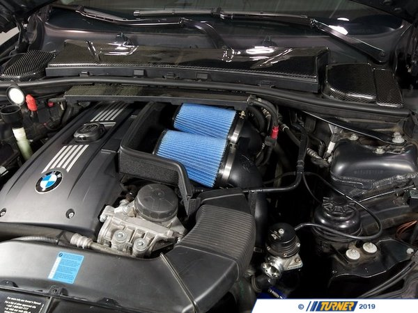 "T#1922 - 54-11472 - aFe Magnum FORCE Pro 5R Stage 2 Air Intake - E82 135i 1M, E9X 335i, E60 535i, Z4 35i - MaximumFlow Pro5R FilterIncrease horse power and torque in your twin-turbo charged BMW 135i, 335i, 335xi, 535i or 535xi with this twin-filter element aFe cold air intake system. aFe has reported gains of 27hp and 34 ft/lbs of torque with this kit, which increases airflow 98% over the stock airbox. Installs in under an hour!This BMW 335i air intake system is one of the easiest and most effective ways to increase your BMW's performance. The kit includes all parts and installation instructions to replace the restrictive factory air box with a low-restriction, high-flow filtering system. The kit includes a one-piece precision molded twin intake tube, 16 gauge powder coated steel heat shield, and gasket -- all assisting in blocking out hot engine air for cooler, denser air mass.This version uses aFe's highest flowing filter media, which uses a light oil gauze to filter out dirt and particulates while allowing more air to flow to the intake. For the best flowing filter, with the best performance gain, we always recommend this standard aFe filter media (often called ""Pro5R "", which has a blue pre-oiled filter media). We also carry this filter in the ""ProDry"" grey filter media, which is oil-free for only slightly less performance and no maintenance.This aFe Intake Kit fits the following BMWs:2007-2010 E90 3 Series Sedan BMW 335i & 335xi2007-2010 E92 3 Series Coupe BMW 335i & 335xi2010+ E92 3 Series Coupe BMW 335is2008-2010 E82 1 Series Coupe BMW 135i (N54 engine)2011+ E82 1 Series Coupe BMW 1M Coupe2008-2010 E88 1 Series Convertible BMW 135i2007-2010 E60 5 Series BMW 535i & 535xi2009+  Z4 BMW Z4 sDrive35i Z4 sDrive35is - AFE - BMW"